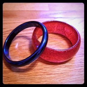 2/$10 Red glitter and blue bangle bracelets
